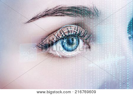 Digital female eye in process of scanning. Futuristic technology concept.