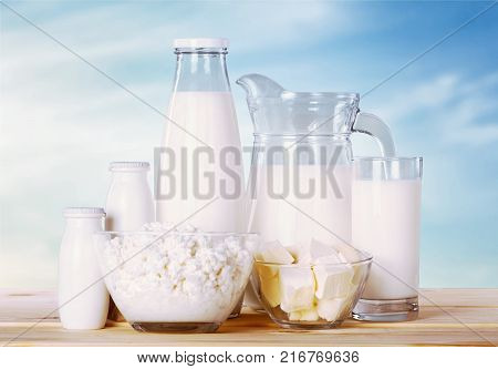 Delicious milk products milk fat color white background