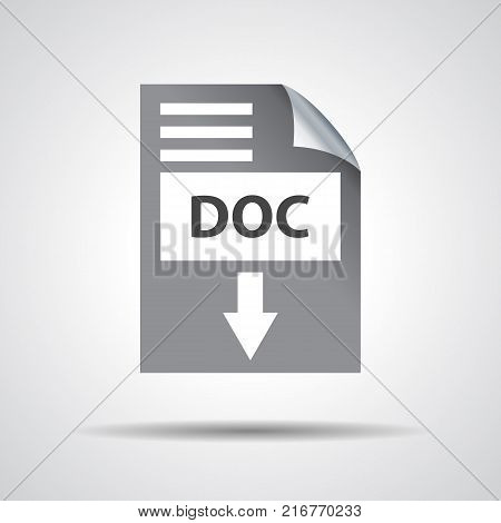 flat doc download icon on a grey background