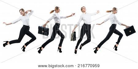 Collage of happy woman in formal wear jumping with briefcase in different ways. Isolated on white.