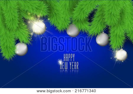 Happy New Year background with christmas balls and lights. Stock vector