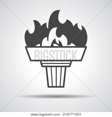 black torch icon with flame on a grey background