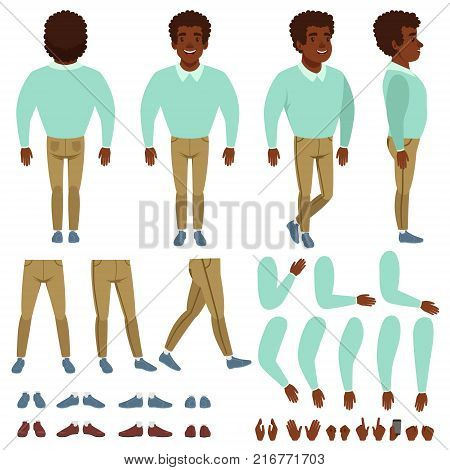 Curly-haired black man character constructor. Cartoon creation set with various views front, side, back. Body parts, different hands gestures, collection of shoes. Isolated flat vector illustration.
