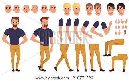 Handsome man creation set with various views, poses, face emotions, haircuts and hands gestures. Cartoon male character constructor in flat style. Vector illustration isolated on white background.