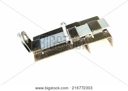 Metal latch on a white background. Door bolt.