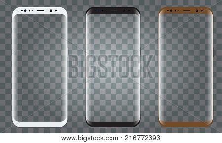 New Smartphone model with 3 colors isolated with blank screen. Illustrated vector