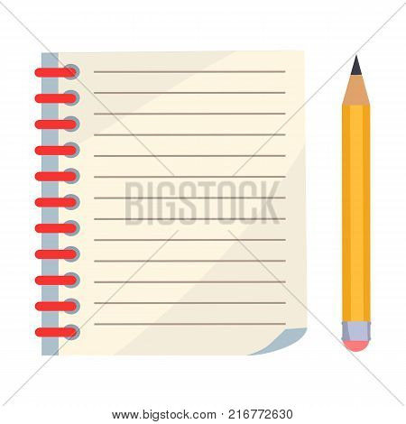 Diary with spiral or page of copybook and sharp pencil vector illustration isolated on white. School stationary equipment in flat style