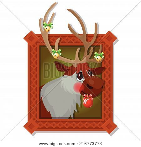 Wall picture in a wooden frame with Christmas deer with Golden jingle bells and festive baubles isolated on a white background. Vector cartoon close-up illustration.