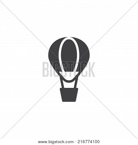 Hot air balloon icon vector, filled flat sign, solid pictogram isolated on white. Airballoon adventure fly trasnport symbol, logo illustration.