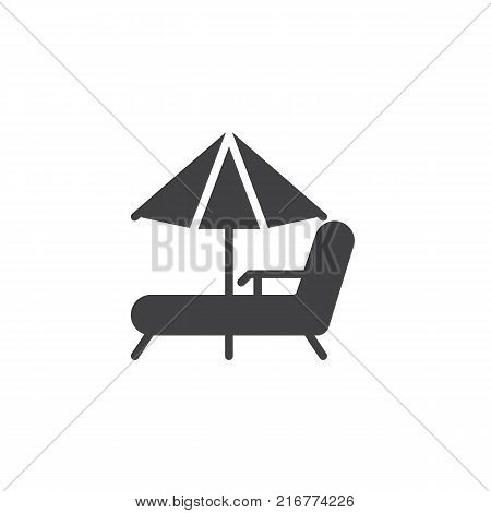 Beach chaise lounges and umbrella icon vector, filled flat sign, solid pictogram isolated on white. Beach parasol and deckchair symbol, logo illustration.