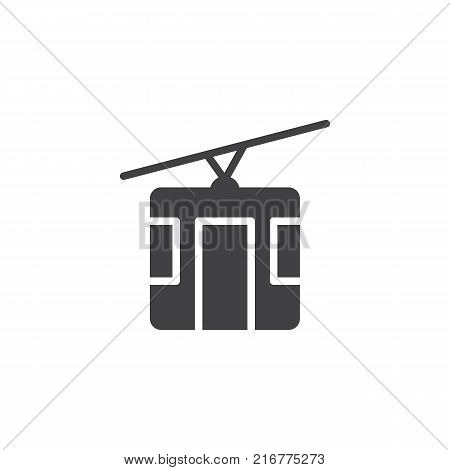 Cable car icon vector, filled flat sign, solid pictogram isolated on white. cableway symbol, logo illustration.