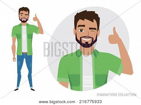 Positive men smiling and recommended. Happy man in casual cloth. Laughing man showing thumbs up.