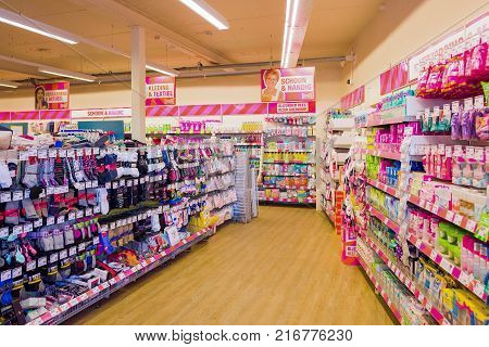 NETHERLANDS - SCHERPENZEEL - JULY 17 2017: Interior of a store from the Big Bazar in the center of Scherpenzeel Netherlands with varied collection of products. Big Bazar opened its first shop in 2007.