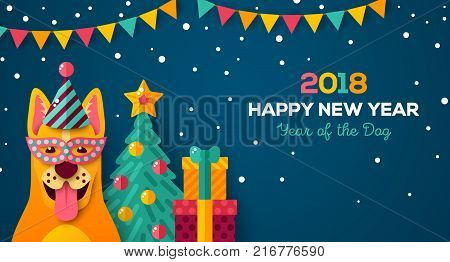 2018 Happy New year carnival night. Vector illustration. Cheerful dog in carnival mask and cap. Christmas tree, snow