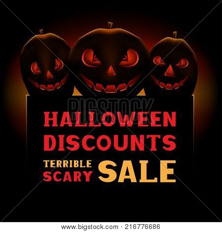 Halloween pumpkin scary terrible sale message on dark background. Business communication dialog or quote template collection sign.