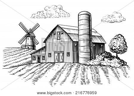 Rural landscape, farm barn and windmill sketch. Hand draw illustration of countryside natural scenic. Agricultural farmhouse and field. Vector monochrome outline image
