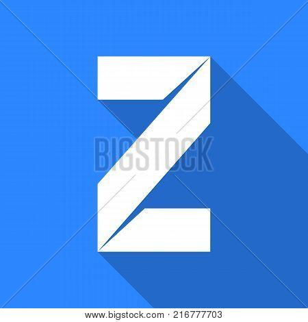 Alphabet paper cut white letter Z, on color square