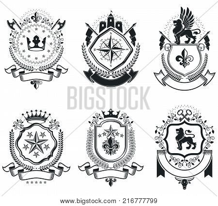 Vintage award designs vintage heraldic Coat of Arms. Vector emblems. Vintage design elements collection.