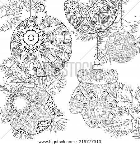 Christmas decorations with spruce branches zentangle styled with clean lines for coloring book for anti stress, T - shirt design, tattoo and other decorations