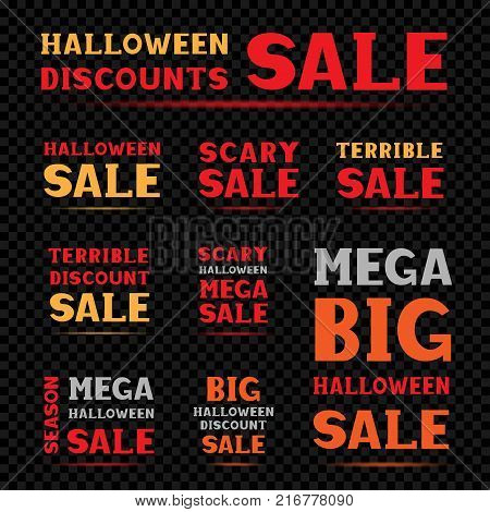 Halloween red orange and gray big mega scary terrible sale message label set on transparent dark black background. Business communication dialog or quote template collection sign.