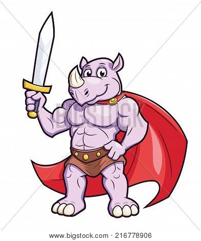 Illustration of the strong muscular rhino with a sword