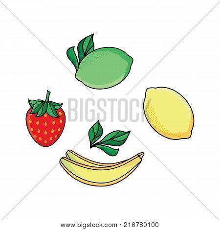 Set of lemon, lime, strawberry and banana fruit and berry icons, flat vector illustration isolated on white background. Stylized lemon, lime, strawberry and banana flat style icon set