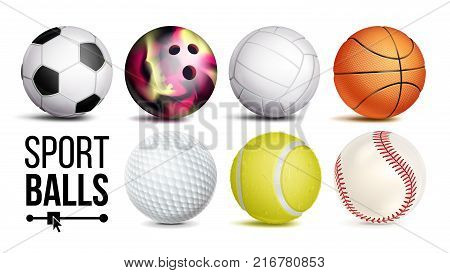 Sport Balls Vector. Realistic. Classic Sport Game, Fitness Symbol Symbol Equipment. Isolated On White Background Illustration