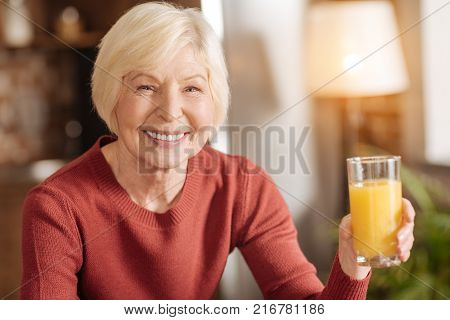 Delicious juice. The portrait of an upbeat senior woman posing with a glass of orange juice and smiling at the camera