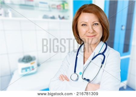 Female doctor with stethoscope doc color white background