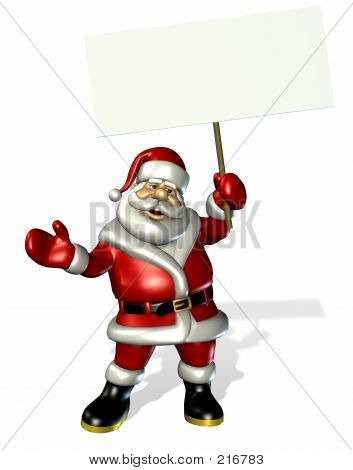 Santa With Blank Sign