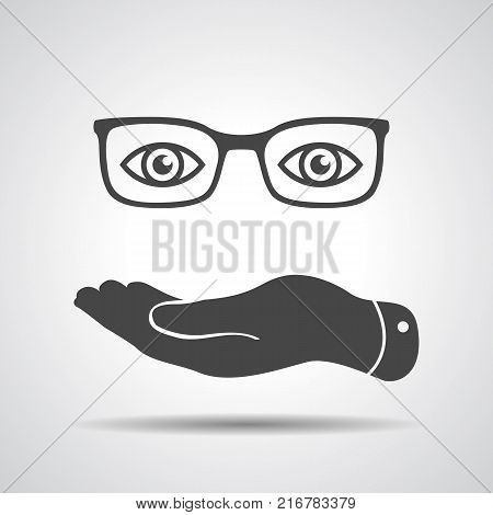 flat hand represents glasses with eyes icon - vector illustration