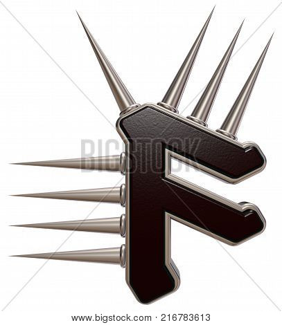 rune symbol with spikes on white background - 3d illustration