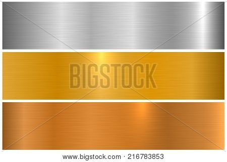 Collection of bright colorful metallic textures. Shiny polished metal banners.