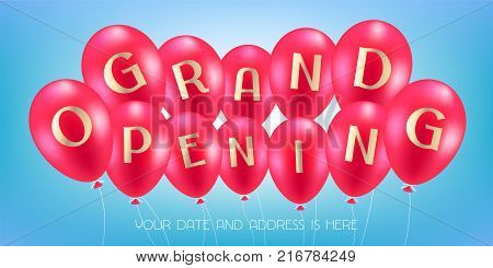 Grand opening vector illustration with air balloons. Template design element for opening ceremony can be used as banner or flyer