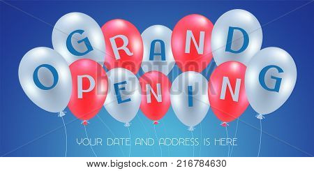 Grand opening vector illustration, background for new store with balloons. Template banner, design element for opening ceremony, red ribbon cutting