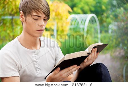 Man read book background paper human new