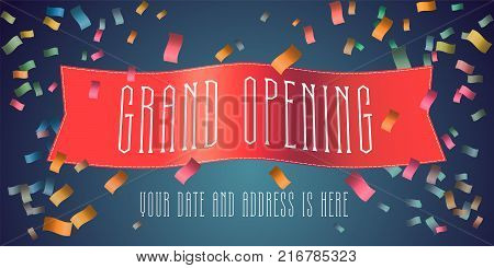 Grand opening vector banner with festive firework and red ribbon. Template design element for opening ceremony can be used as background or poster