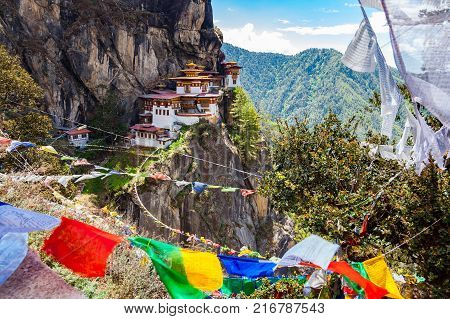 View of Taktshang Monastery on the mountain in Paro Bhutan