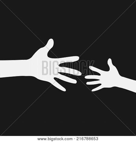 Helping hand. Help concept. Adult care about child. Vector stock.