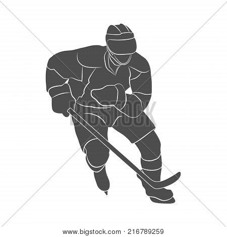 Silhouette hockey player on a white background. Photo illustration.