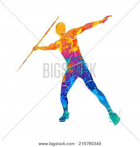 Abstract Javelin Thrower from splash of watercolors. Photo illustration of paints.