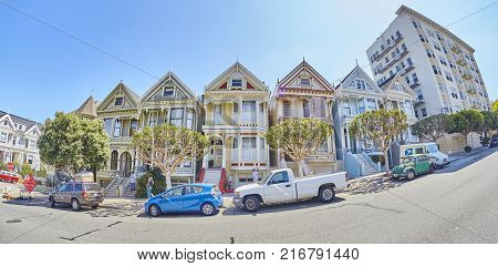 San Francisco, Usa - August 24, 2015: Fisheye Lens Picture Of The Painted Ladies Houses By Steiner S