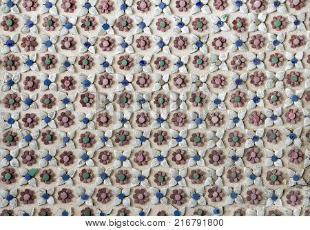 Flower colorful stucco pattern decorative isolated on the white background style tradition vintage.