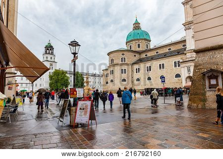 Salzburg Austria - August 8 2011 : People walking at the Residence Square in the old town of Salzburg Austria