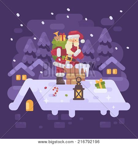 Cheerful Santa Claus on a roof climbing into the chimney with a bag full of presents on Christmas night. Purple winter flat illustration