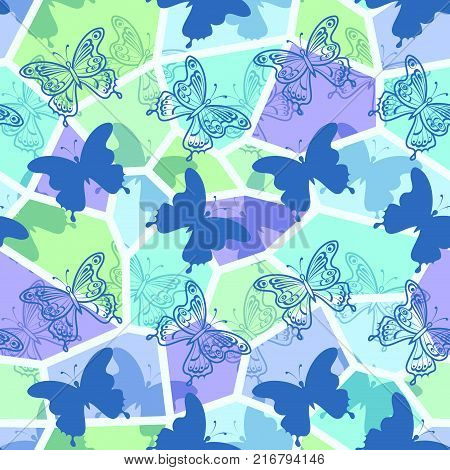 Seamless Holiday Background with Colorful Butterflies Contours and Silhouettes, Abstract Tile Pattern for Your Design. Eps10, Contains Transparencies. Vector