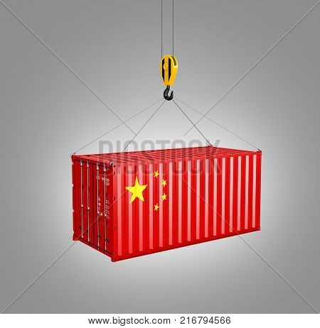 Cargo Shipping Container With The Chinese Flag Сoncept Of Delivery From China On Grey Graduent Backg