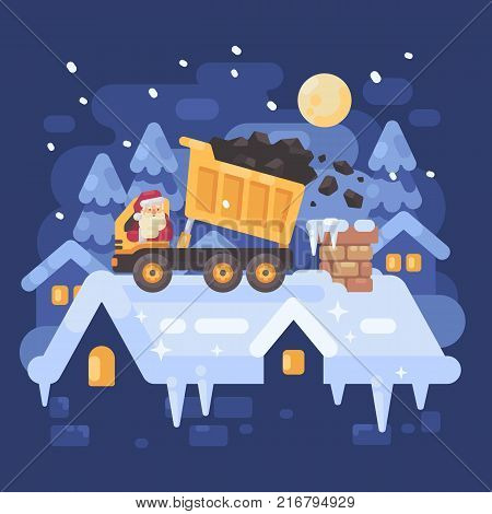 Santa Claus in a yellow tipper truck on a rooftop unloading coal into the chimney of a very naughty kid. Christmas character illustration poster