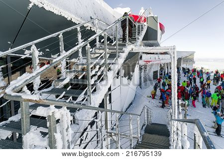JASNA SLOVAKIA - DECEMBER 2: Cableway Funitel in winter resort Jasna in Low Tatras mountains on December 2 2017 in Jasna
