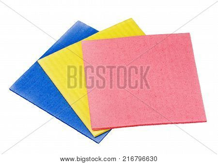 Three sponge from cellulose isolated on a white background